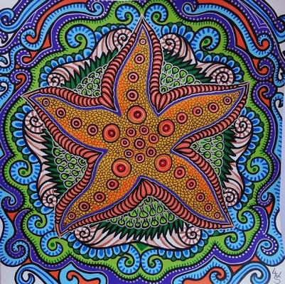 LyubaS Art - Starfish 30 x 30 cm