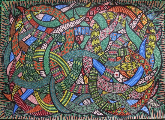 LyubaS Art - A Nest of Snakes 70x50 cm