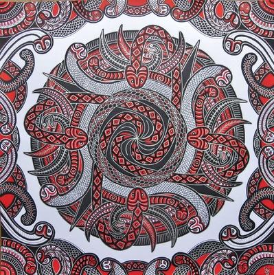LyubaS Art - Dancing Snakes 50x50 cm