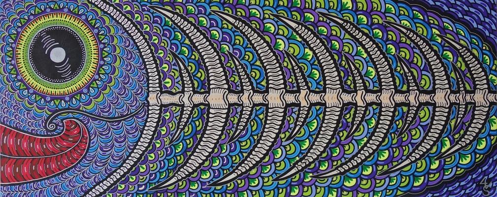 LyubaS Art - Fishbone 100 x 40 cm