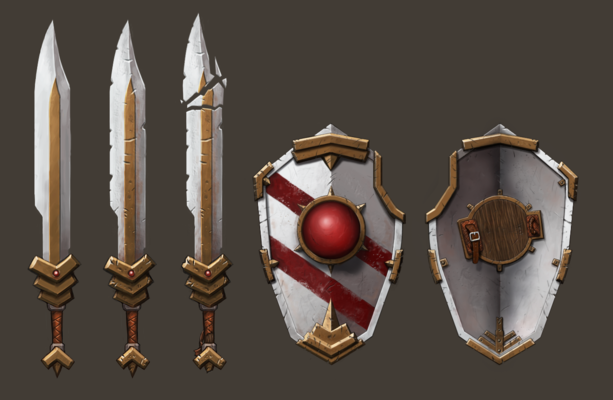 Art of Simon Rozner - Weapon Set: Defender of the Wall - Painted Fantasy Weapons Concept