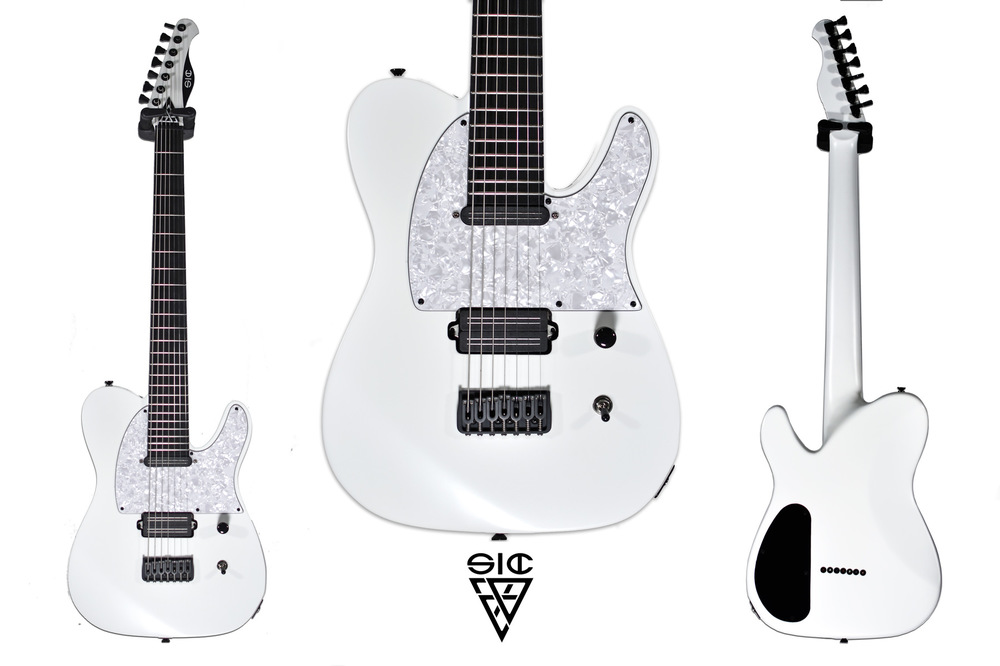 SIC Instruments - SICASTER - Snowball ______________________________ Body: Mahogany one pieceNeck: set-in, quartersaw padouk (100 years aged), angled headstock, modern C shapeFretboard: Ebony, 24 jumbo, Scale: 27,8, ball end frets, compound radius 12-20Inlays: blank - Luminlay sidedot.Pickups: Bare Knuckle Pickups Impulse - Cobra set. Push push for split.Hardware: Hipshot fixed bridge and locking tuners, Graphtech nut, all blackPickguard: White PearloidFinish: Satin white