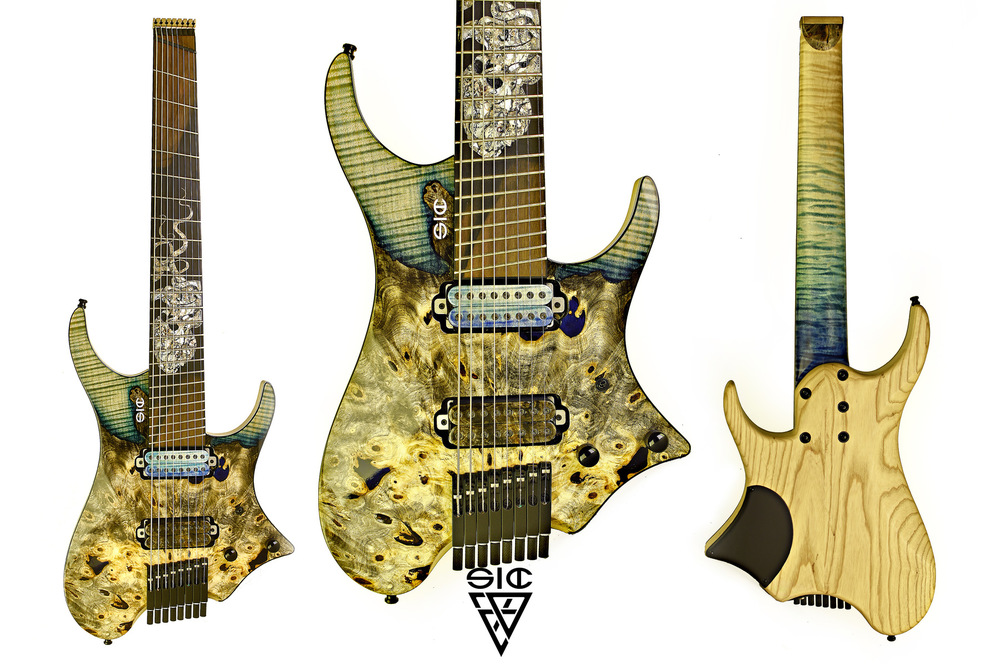 "SIC Instruments - NAMELESS - Cthulhu 8 ______________________________ Body: Ash chambered w/""crazy"" buckeye burl-maple top.Neck: bolt on, curly one piece maple, asymmetric 3 step shape.Fretboard: figured ebony, compound radius 20-40. 24 Jumbo frets, ball end edges, multiscale fanned 28,5 - 26,8Pickups: Bare Knuckle Aftermath set, matched wood top. Volume - tone w/split Hardware: ETS single saddles black and ETS brass headpiece.Finish: Natural high gloss top / 0 gloss back – Sea&sand nitro satin (neck) ______________________________ SOLD !!!"