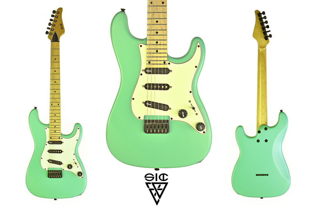 SIC Instruments - CALIFORNIA- Rockabilly Green ______________________________ Body: European ashNeck: bolt on, hard maple, modern headstock, modern C shape, high glossFretboard: Maple, 24 jumbo, Scale: 25,5, ball end frets, compound radius 10-16Inlays: ABS classic dot Pickups: Dimarzio Fastrack/Chopper – BKP slowhand middle. Volume w/split - ToneHardware: Hipshot fixed bridge and Sperzel locking tuners, Graphtech nut, black satinFinish: Rockabilly Green satin
