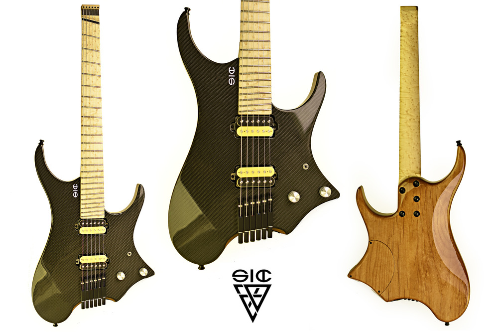 SIC Instruments - NAMELESS - Carbon Bee ______________________________ Body: Alder w/Carbon top.Neck: bolt on, birdseye maple w/carbon fillet, asymmetric C shape.Fretboard: birdseye maple, compound radius 10-16. 24 Jumbo frets, ball end edges, multiscale fanned 25.5 - 24.75Pickups: Bare Knuckle Cold Sweat set, yellow/carbon zebra. Volume - tone w/split Hardware: ETS single saddles black and ETS brass headpiece.Finish: Natural high gloss (body) - Natural tru-oil  satin (neck)