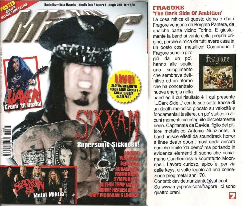 fragore - Metal Maniac - May 2011
