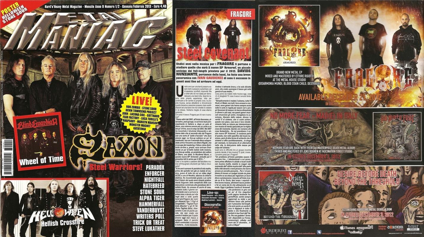 fragore - Metal Maniac - January/February 2013
