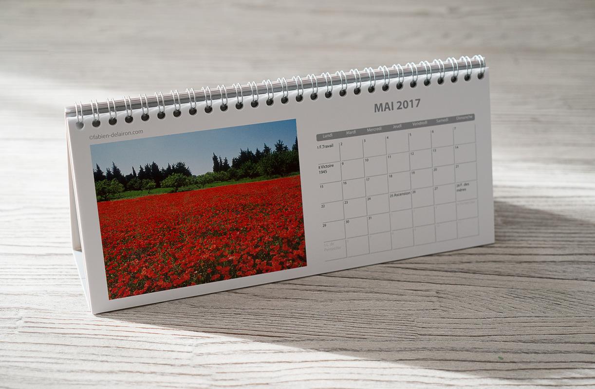 Fabien Delairon photographe - Calendrier Chevalet Format 10,5 cm x 24 cm sur 12 mois