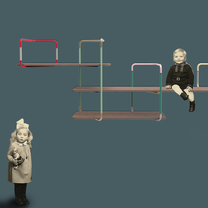 cose da bocia - Modular shelves (25 cm deep) that can be combined together made of coloured MDF with a support structure made of lacquered tubular metal.