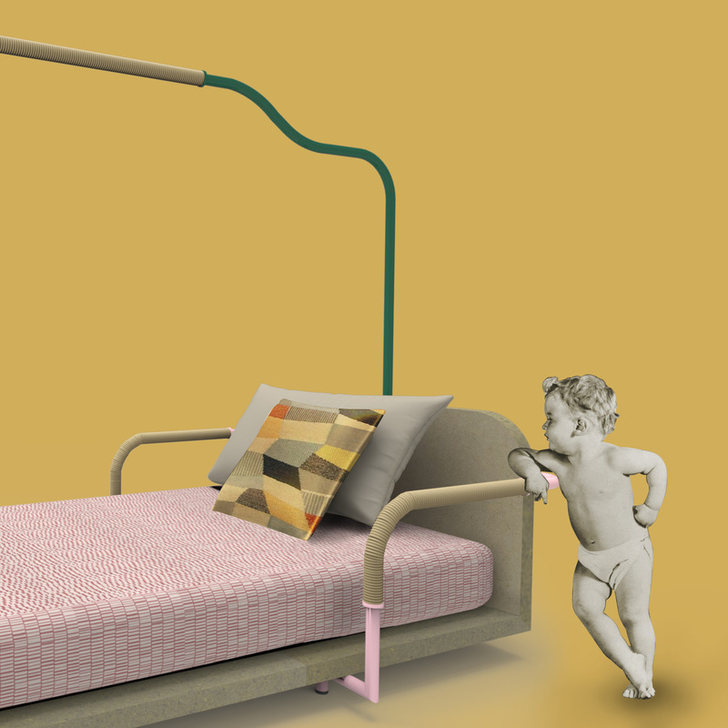 cose da bocia - Children's bed measuring 160X70 cm made of coloured MDF and tubular metal with inserts made of natural rope.