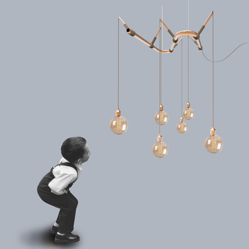 cose da bocia - Lacquered tubular metal or brass chandelier with rope inserts. Available in different sizes.