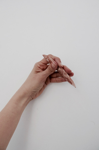 Catalina Renjifo - awl - documentation of handheld tool- Marbled earthenware 2016
