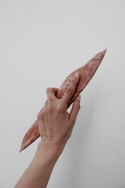 Catalina Renjifo - handaxe - documentation of handheld tool - Marbled earthenware 2016