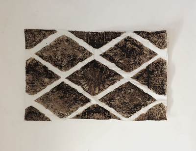 Catalina Renjifo - Unsaid, 2015 Pillowcase, coffee grounds, glue