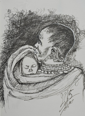 Create and Grow-Portfolio - Sketch of a baby sleeping on mom