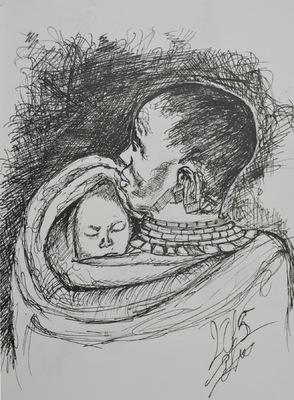 Create and Grow-Portfolio - Sketch of a baby sleeping on mom