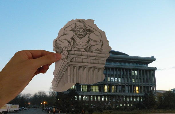 "Create and Grow-Portfolio - King-kong assault on University ""Politehnica"" of Bucharest building-(inspiration Ben Heine)"