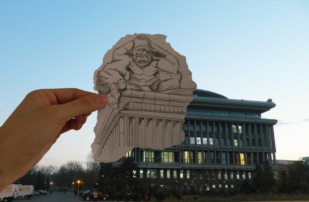 "Create and Grow-Portfolio - King-kong assault on University ""Politehnica"" of Bucharest building-(inspiration Ben Heine)"