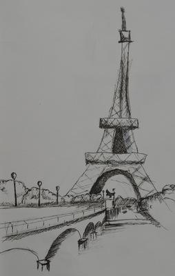 Create and Grow-Portfolio - Tour eiffel sketch (made in 2014).