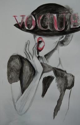 Create and Grow-Portfolio - Sketch of vogue german illustration.