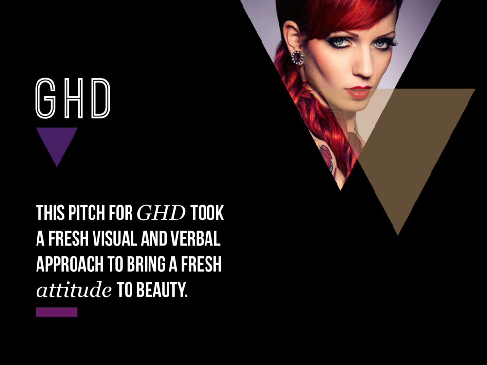Ben Golik - In this pitch for GHD, I wanted to avoid the cliches of hair and beauty advertising and create something that celebrated individuality, rather than the poker-straight-conformity GHDs had become associated with.