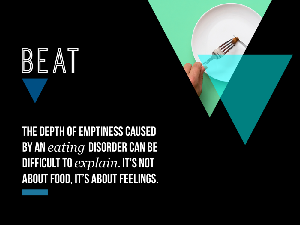 Ben Golik - Beat want to break the perception that eating disorders are about thin-ness and vomiting. In fact, they are about feelings - this is a mental illness, not a physical one. And anorexia is the least common form (8%) of sufferers.