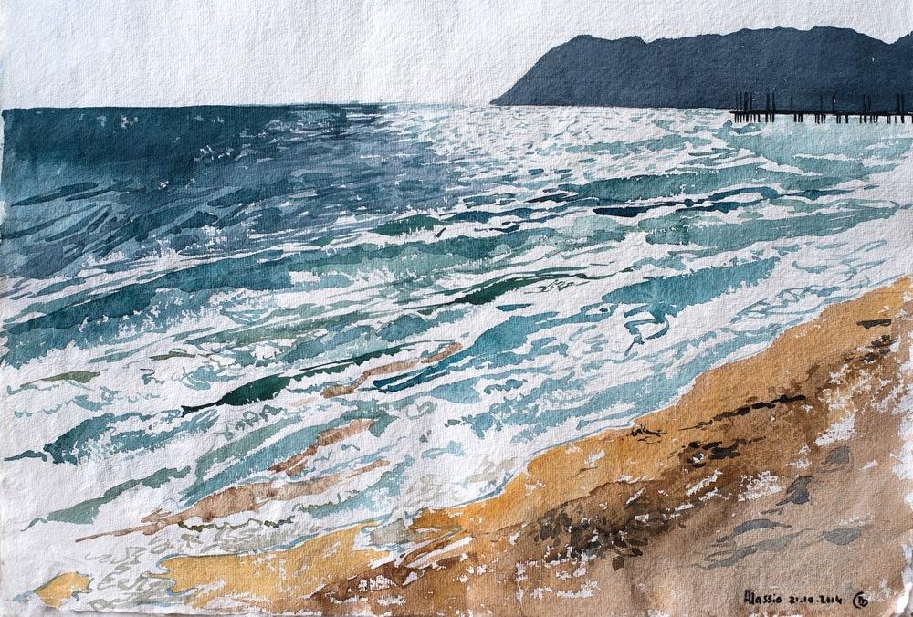 delphine.gosseries.aquarelles - plage de Bordigherra