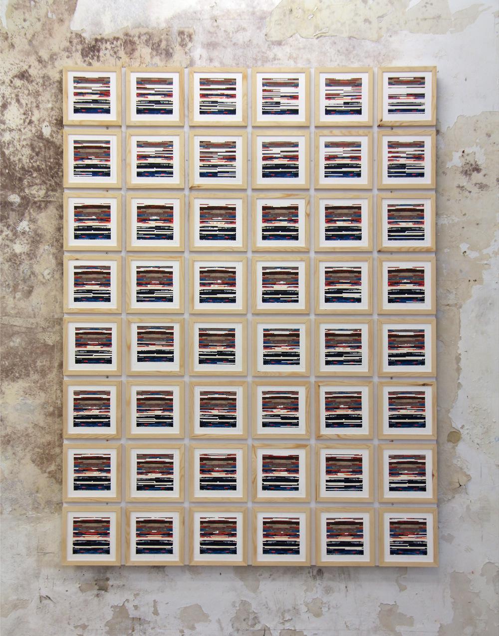 laurenttrezegnies - title : 48 times the same thing acrylic, collage, paper and wood, 206 / 154 cm, 48 X 23 / 23 cm 2015 exhibited in : recyclart Brussels iMAL Brussels
