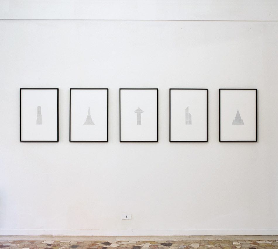 PLACENTIA ARTE - shanti town [installation view] graphite +carbon paper on cotton paper cm. 72 x 52 [each], 2016 photo credit Marco Fava