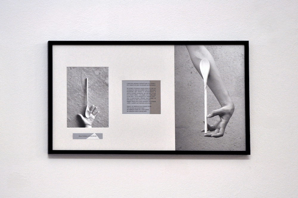 PLACENTIA ARTE - mano dartista e innesti-fionda text + digital photo print on fiber paper cm. 32 x 57, 2016