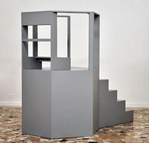 PLACENTIA ARTE - linginocchiatoio-pulpito installation, wood cm. 187 x 130 x 213, 2016