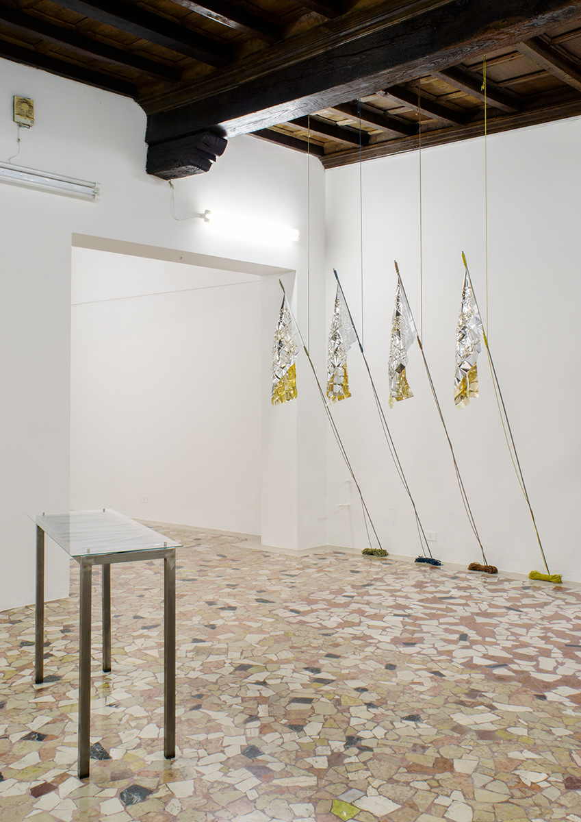 PLACENTIA ARTE - est. 1991 - come over come over come over come overcome [installation view #2] mylar + iron + silk cm. 93x55 [flag], installation-variable dimensions, 2017 ph. credit - Marco Fava