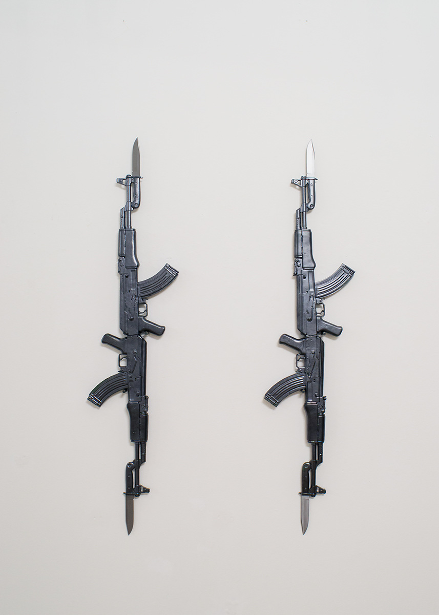 PLACENTIA ARTE - est. 1991 - Ak-474-kA (lovefully right) [#2] ceramics + steel/iron alloy, cm. 150x40x6 [each], 2016 ph. credit - Marco Fava