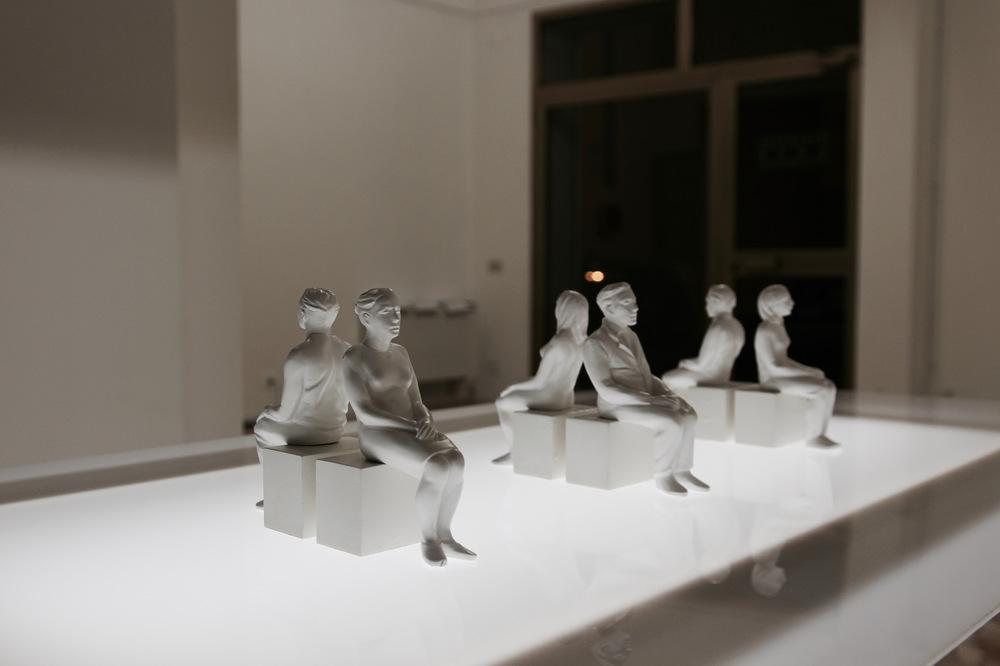 PLACENTIA ARTE - train the muscle not the movement series of 6 couple sculptures, cementite cm. 15 x 4 x 4 (each), 2016 ph. credit Ovidiu Hulubei
