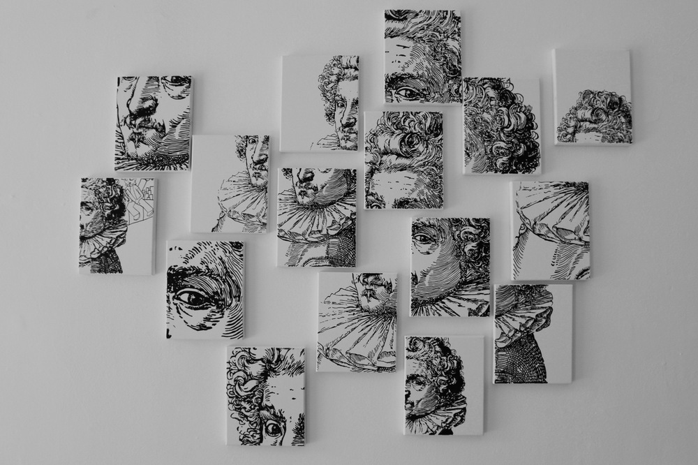PLACENTIA ARTE - waiting for godot installation of 16 pieces, indian ink on canvas cm. 150 x 75, 2016 ph. credit Ovidiu Hulubei