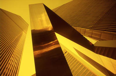 Art Photography - Twin Towers Gold.