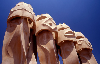 Art Photography - Chimneys at Casa Mila, Barcelona, designed by Gaudi.
