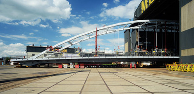 Art Photography - New bridge rolling out of hangar at Mercon, Gorkum.