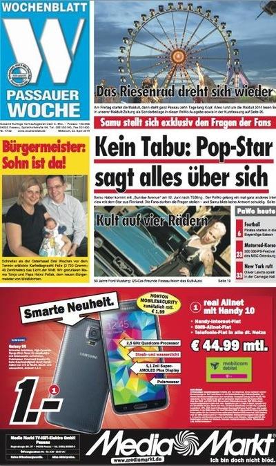Klaus Biella Retrophoto - Veröffentlichung eines Bildes auf der Titelseite der Passauer Woche, 2014