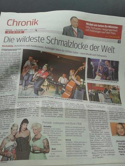 Klaus Biella Retrophoto - Veröffentlichung eines Bildes im Kurier, Österreich, 3.11.2013