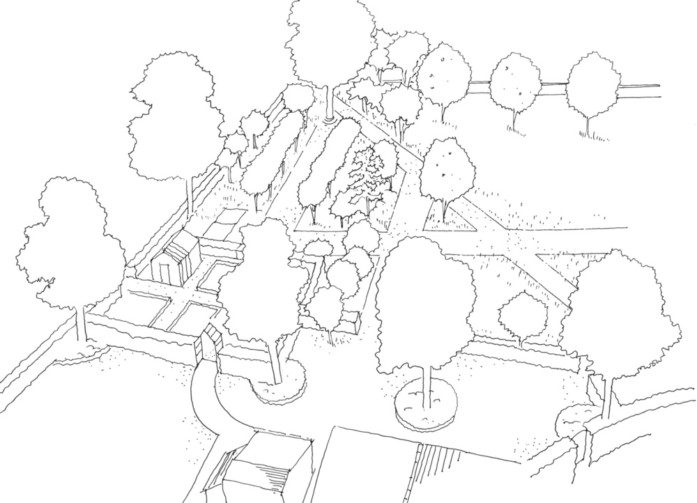 plants by design - thorp archdesign drawing for kitchen garden including vegetable and fruit growing areas