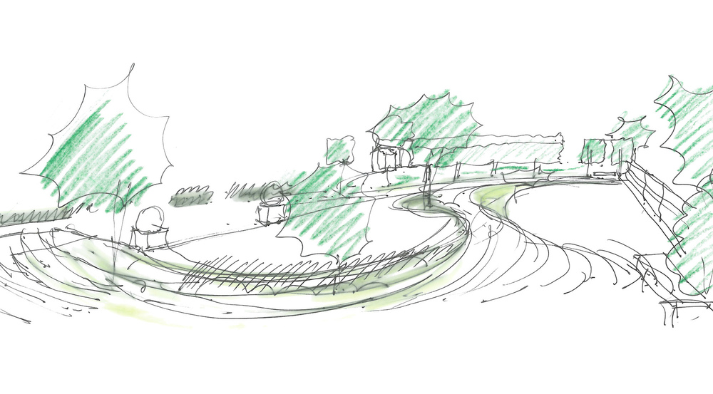 plants by design - Concept sketch showing form of garden.