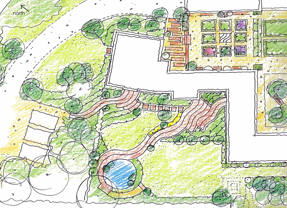 plants by design - design proposals plan showing gardens and relocation of access and parking areas