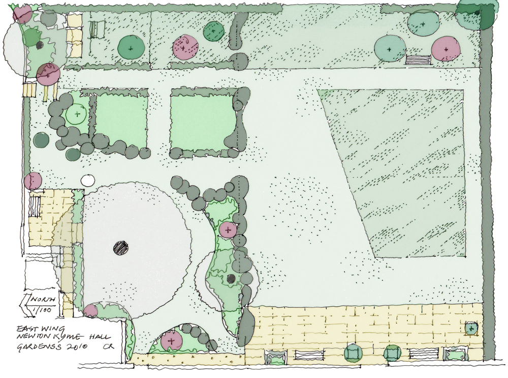 plants by design - Garden plan showing main features.