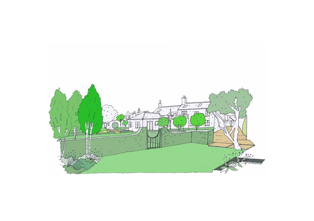 plants by design - Sketch of proposed rear garden.