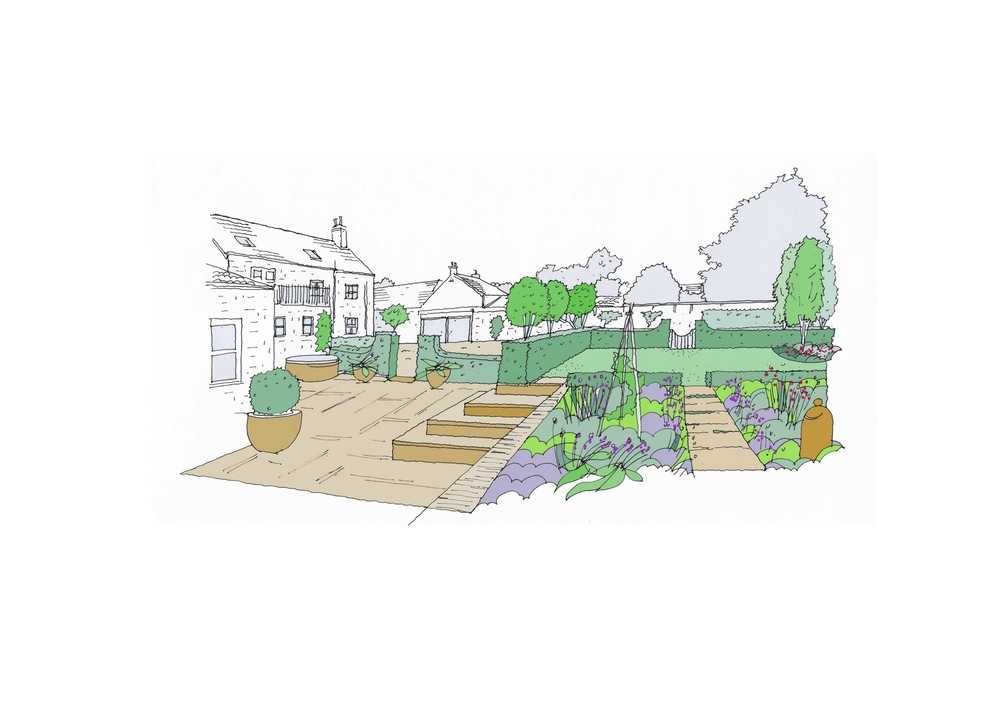 plants by design - Sketch of proposed herb garden and terrace.