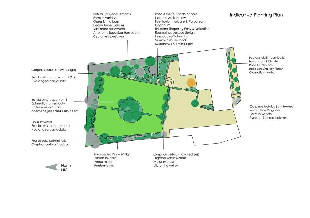 plants by design - Garden near York; Garden plan showing design improvements and indicative planting. Work in progress 2018.