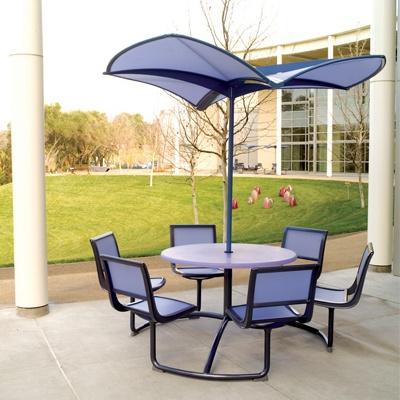 arh creative - Mingle Table & Shade Umbrella Client: Landscape Forms via Frog DesignPhoto: Courtesy of Landscape Forms