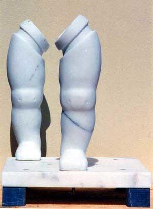 www.lenaflodman.com - Leg Game, white marble, 1995