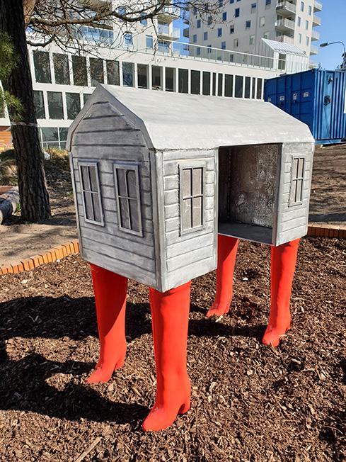 www.lenaflodman.com - House on Boots, aluminium 2019 To a preschool in Nacka kommun